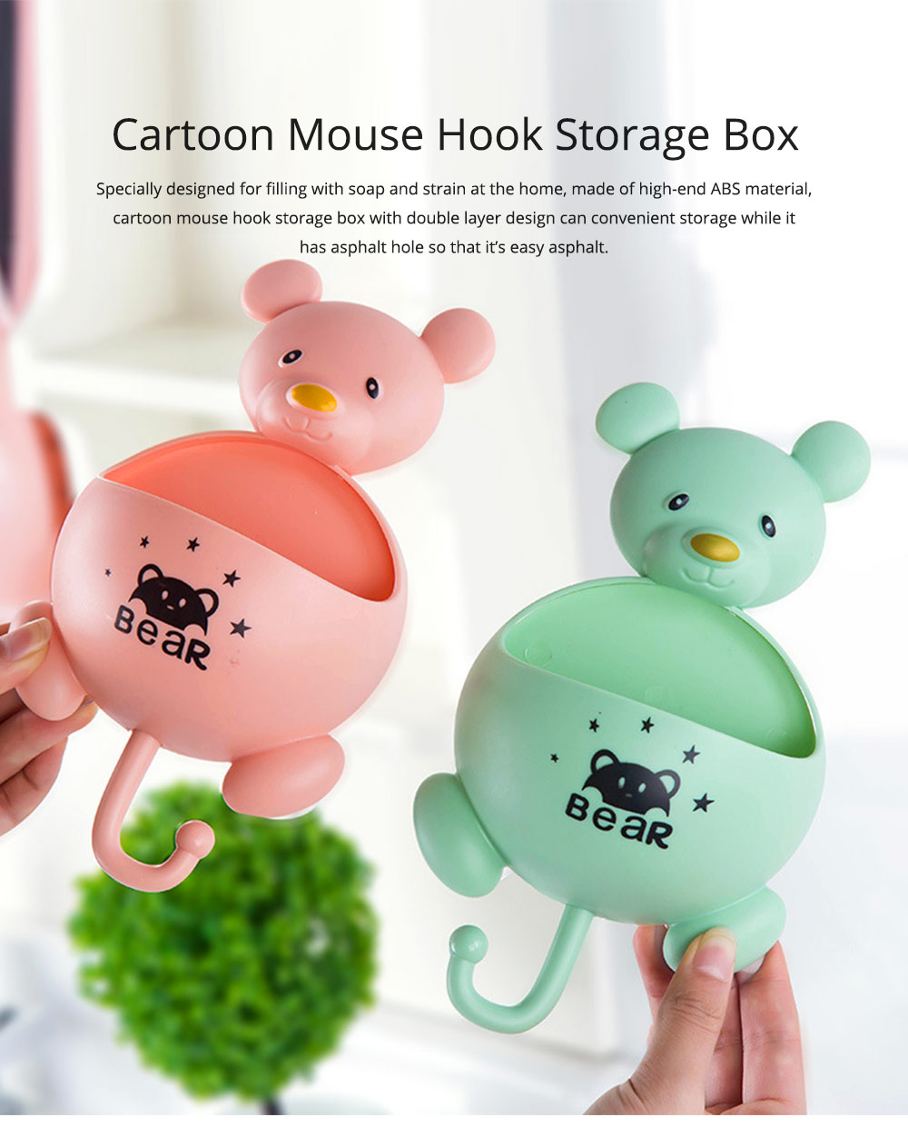 Wall Mounted Creative Bathroom Soap Box, Multifunctional Cartoon Mouse Hook Storage Box with Magic Sucker 0
