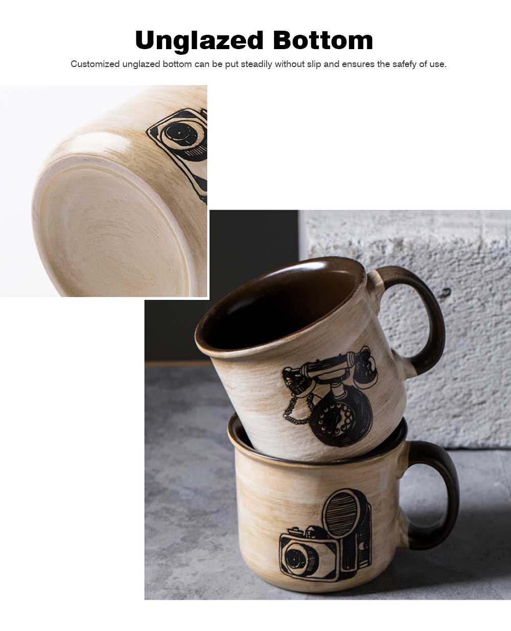 Ceramic Mug Cup Retro Design for Cereal, Milk, Water, Tea, Breakfast Cup with Freehand Sketching, Water Mug with Large Capacity 1