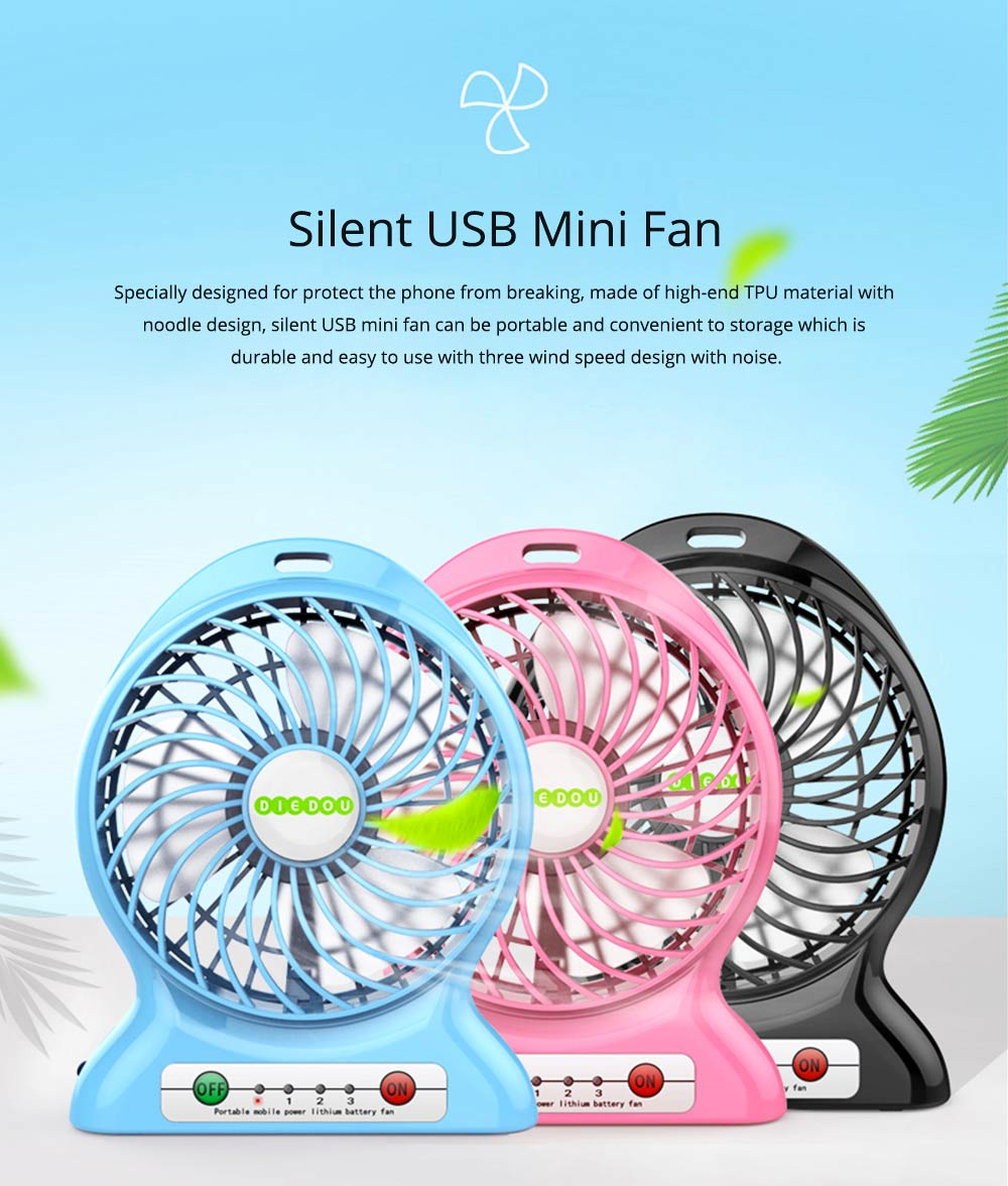 Silent USB Mini Fan with Three Wind Speed, Outdoor Portable Hand Held Mini Fan with Large Capacity Charging 0