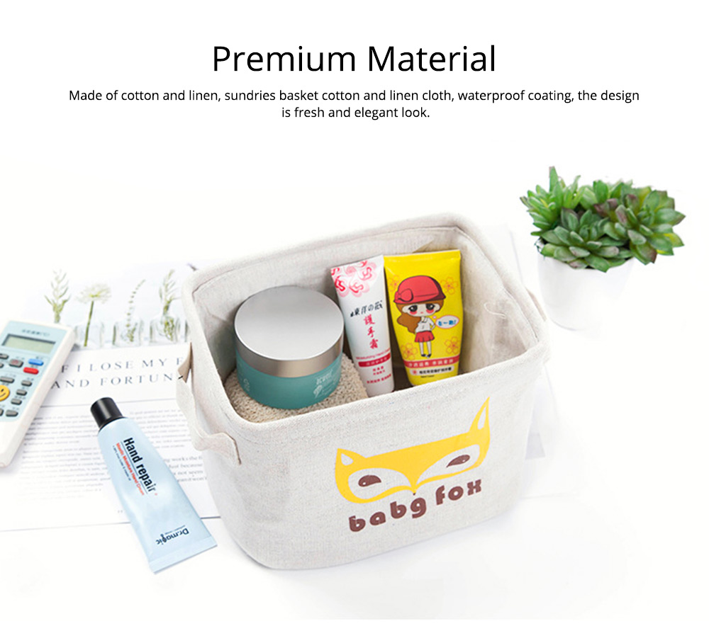 Cartoon Cotton & Linen Household Bedroom Storage Box Storage Basket with Double Handle for Magazine, Toys, Snacks 1