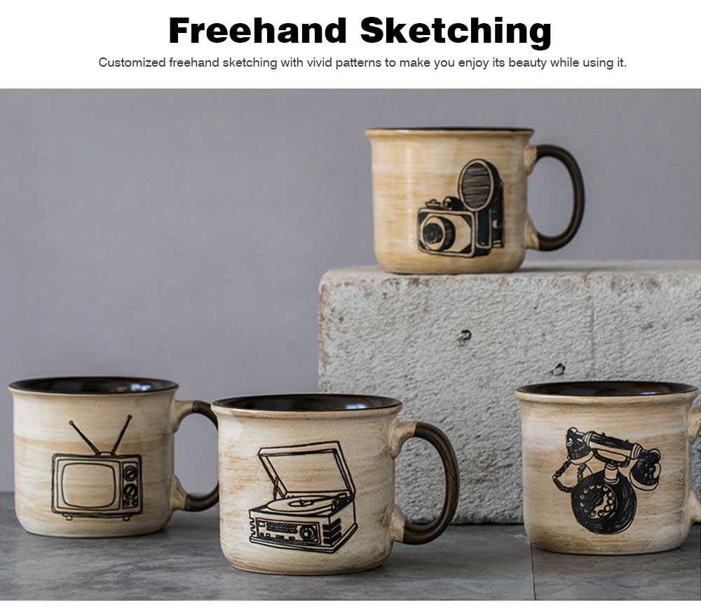 Ceramic Mug Cup Retro Design for Cereal, Milk, Water, Tea, Breakfast Cup with Freehand Sketching, Water Mug with Large Capacity 3