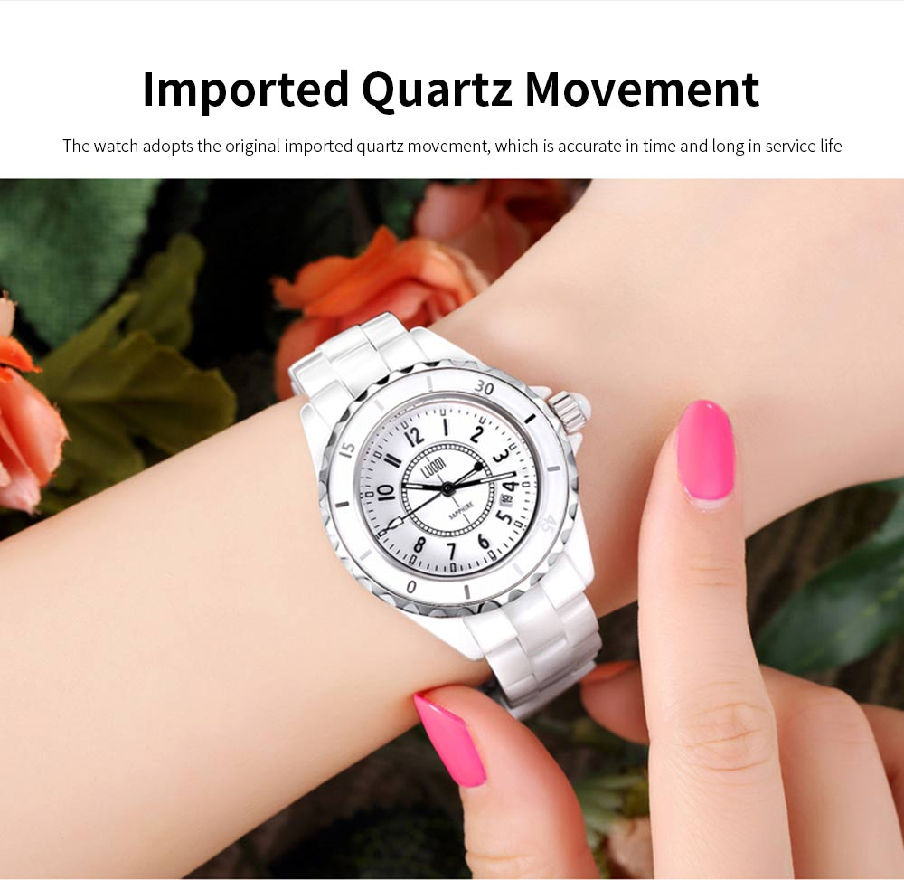 Genuine White Ceramic Band Quartz Watch for Women Fashion Luminous Waterproof 30m Imported Movement Couple Wristwatch 5