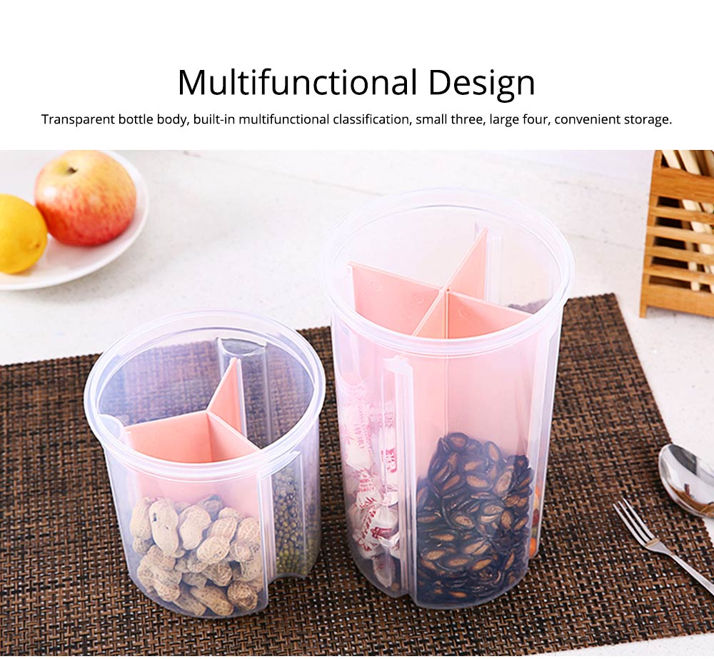 Multi-purpose Storage Convenient Transparent Four-compartment Sealed Grain Jar with Grid Classification Design 5