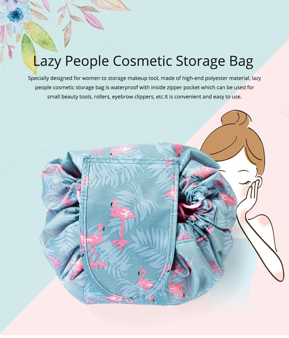 Waterproof Lazy People Cosmetic Storage Bag with Inside Zipper Pocket or Small Beauty Tools, Rollers, Eyebrow Clippers, etc. 0