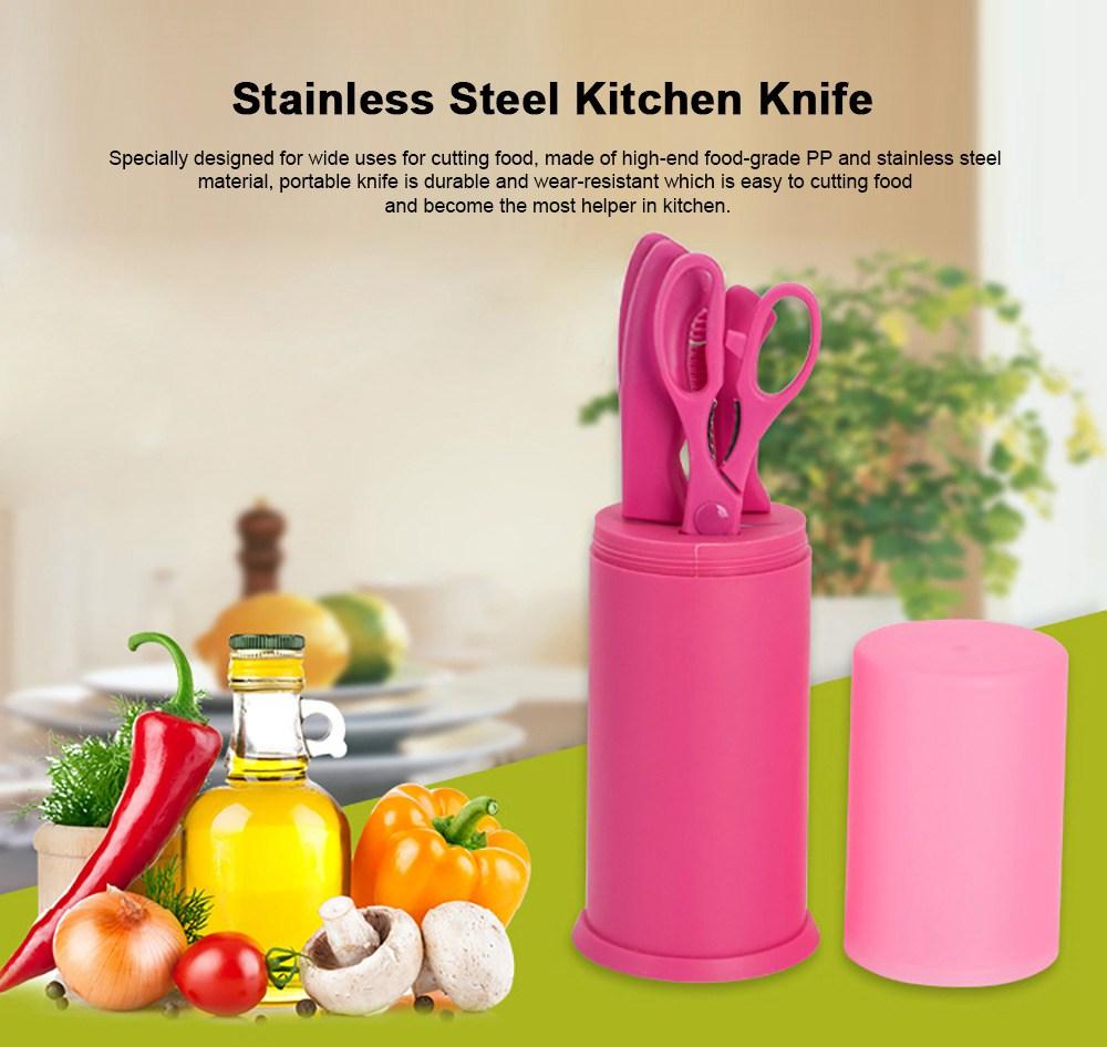 Portable Multiple-use Picnic Knife Set with Stainless Steel Kitchen Knife, Use as Scissors, Frozen Meat Knife, Sharpener, Fruit Knife Set 0