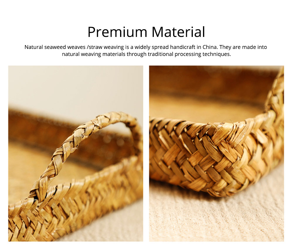 Hand Woven Fruit Tray Straw Tray Rectangular Storage Basket, Portable Seaweed Carrying Basket for Household Use 1