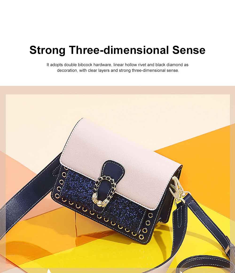 Contrast Color Small Square Bag, Fashion Handbag Shoulder Slung Bag for Female, Summer 2019 2