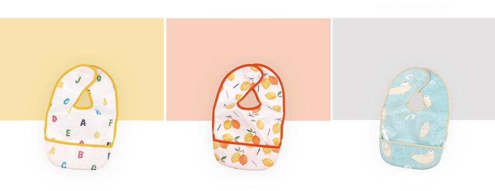 Waterproof & Anti-fouling Baby Bib with Large Capacity Rice Pocket & Velcro Design Baby Bib 2