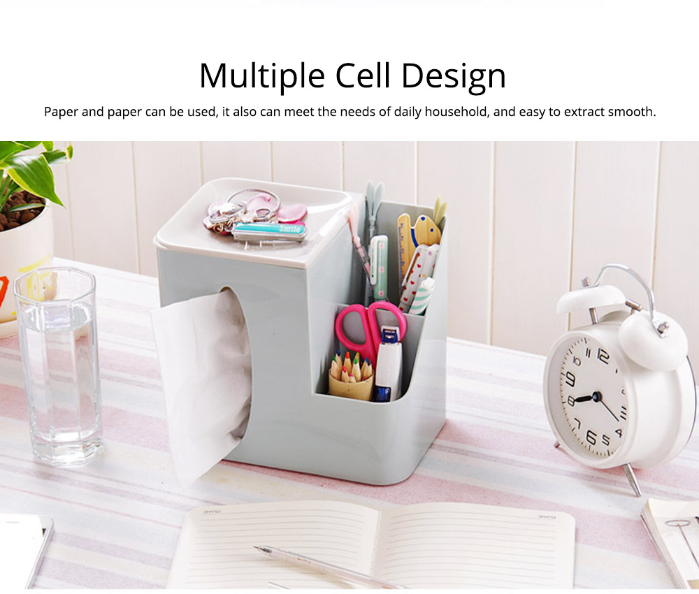 Multifunctional Tissue Box with Multiple Cell & Top Concave Design, Non-skid and Non-abrasive Bottom Pad Tissue Box 4