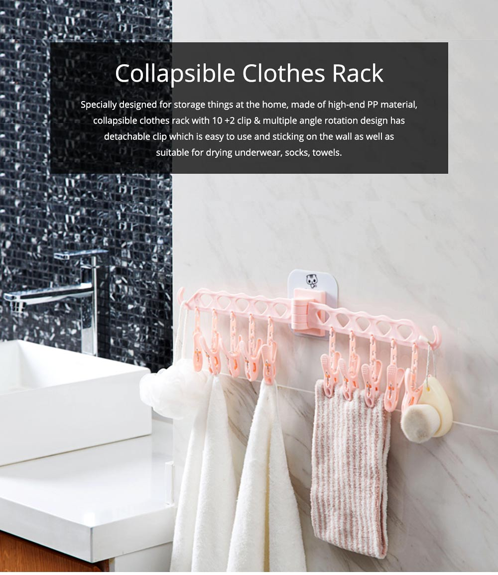 Collapsible Clothes Rack with 10 +2 Clip & Multiple Angle Rotation Design for Drying Underwear, Socks, Towels 0