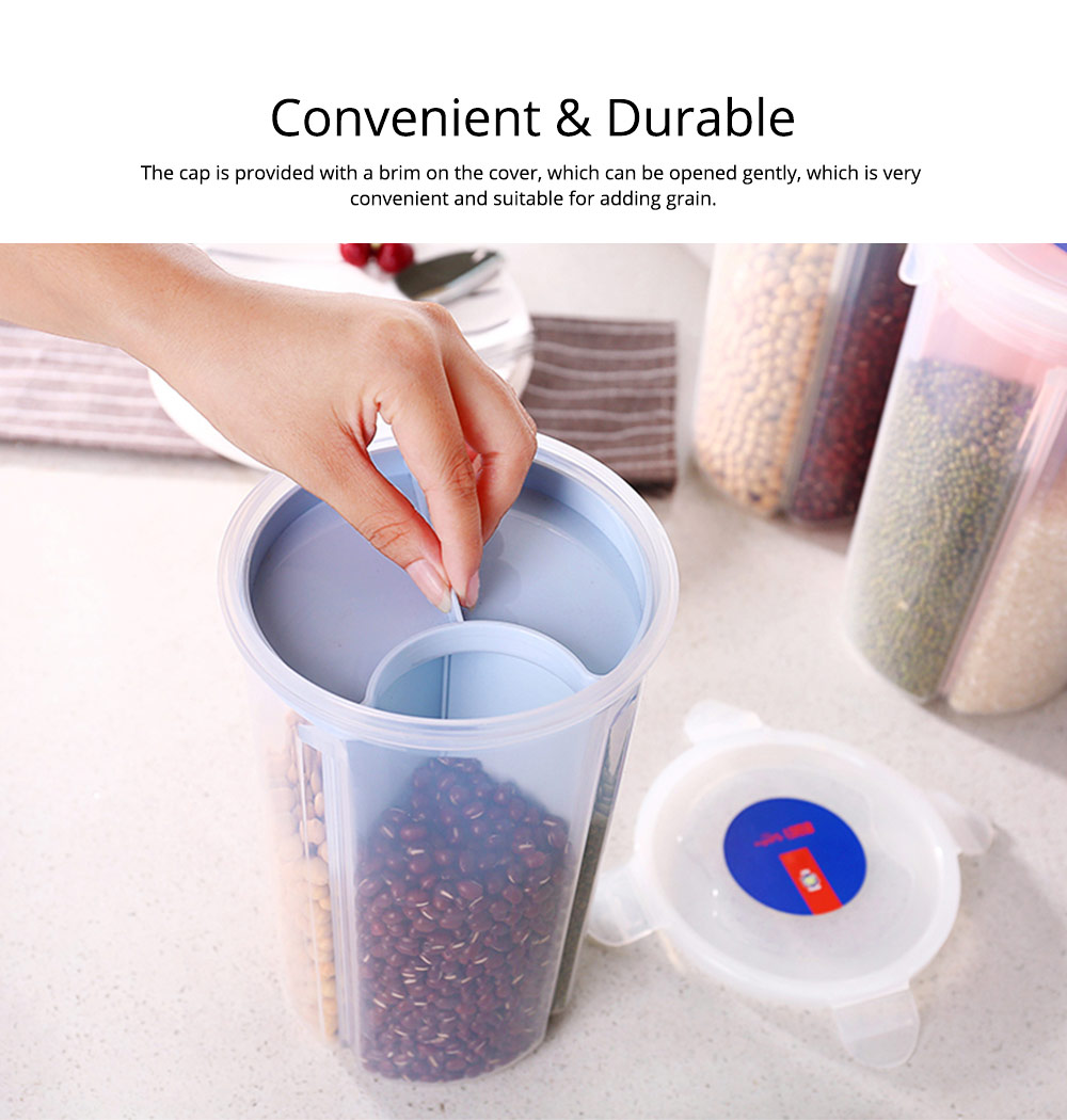Multi-purpose Storage Convenient Transparent Four-compartment Sealed Grain Jar with Grid Classification Design 7