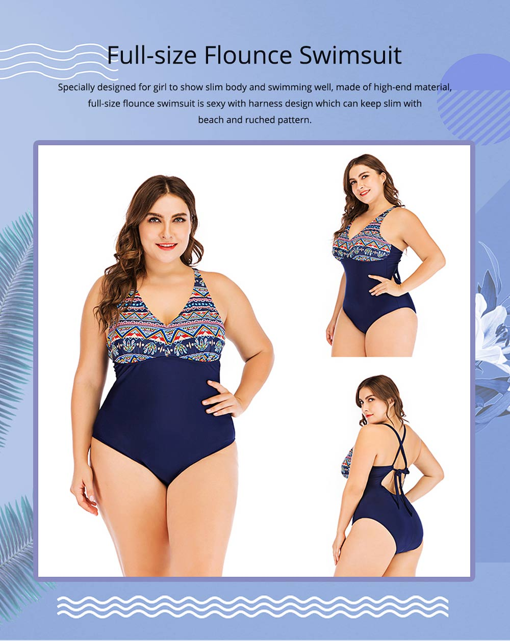 Full-size Flounce Swimsuit Digital Print One-piece Slimming, Straps Slimming Swimsuit with Various Style 0