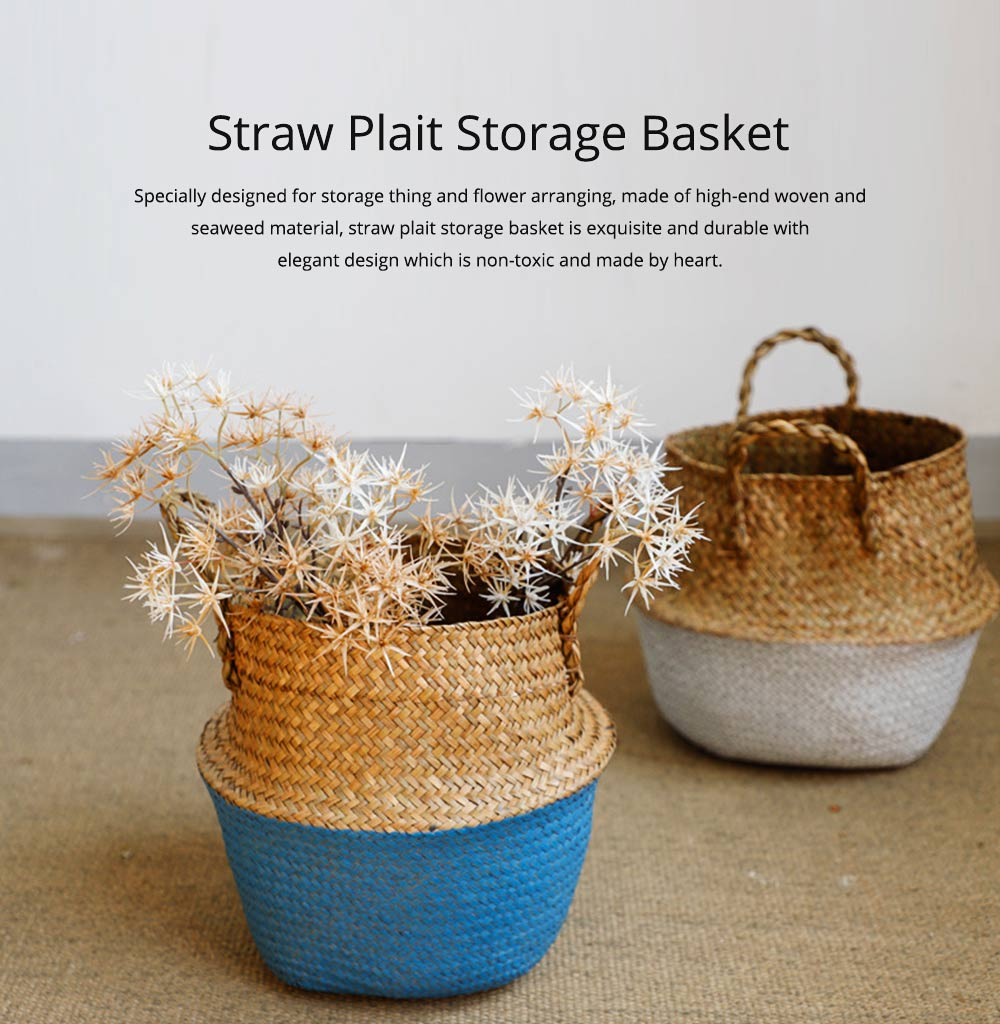 Straw Plait Collapsible Storage Basket to Contain Handle, Green Plant Flower Basket Flower Implement Rattan Woven Home Goods Basket 0