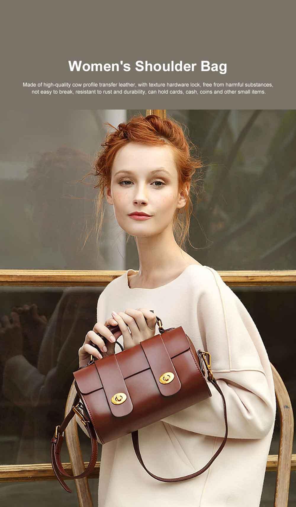 Women's Shoulder Bag Leather Handbag with Hardware Adjusting Buckle Holding Cards, Cash, Coins Crossbody Bag 0