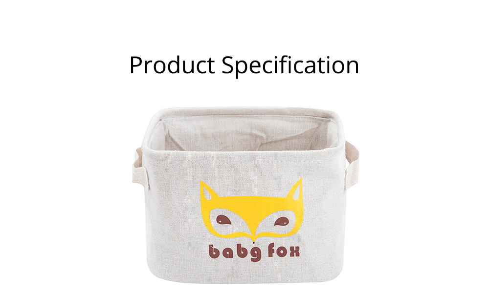 Cartoon Cotton & Linen Household Bedroom Storage Box Storage Basket with Double Handle for Magazine, Toys, Snacks 8