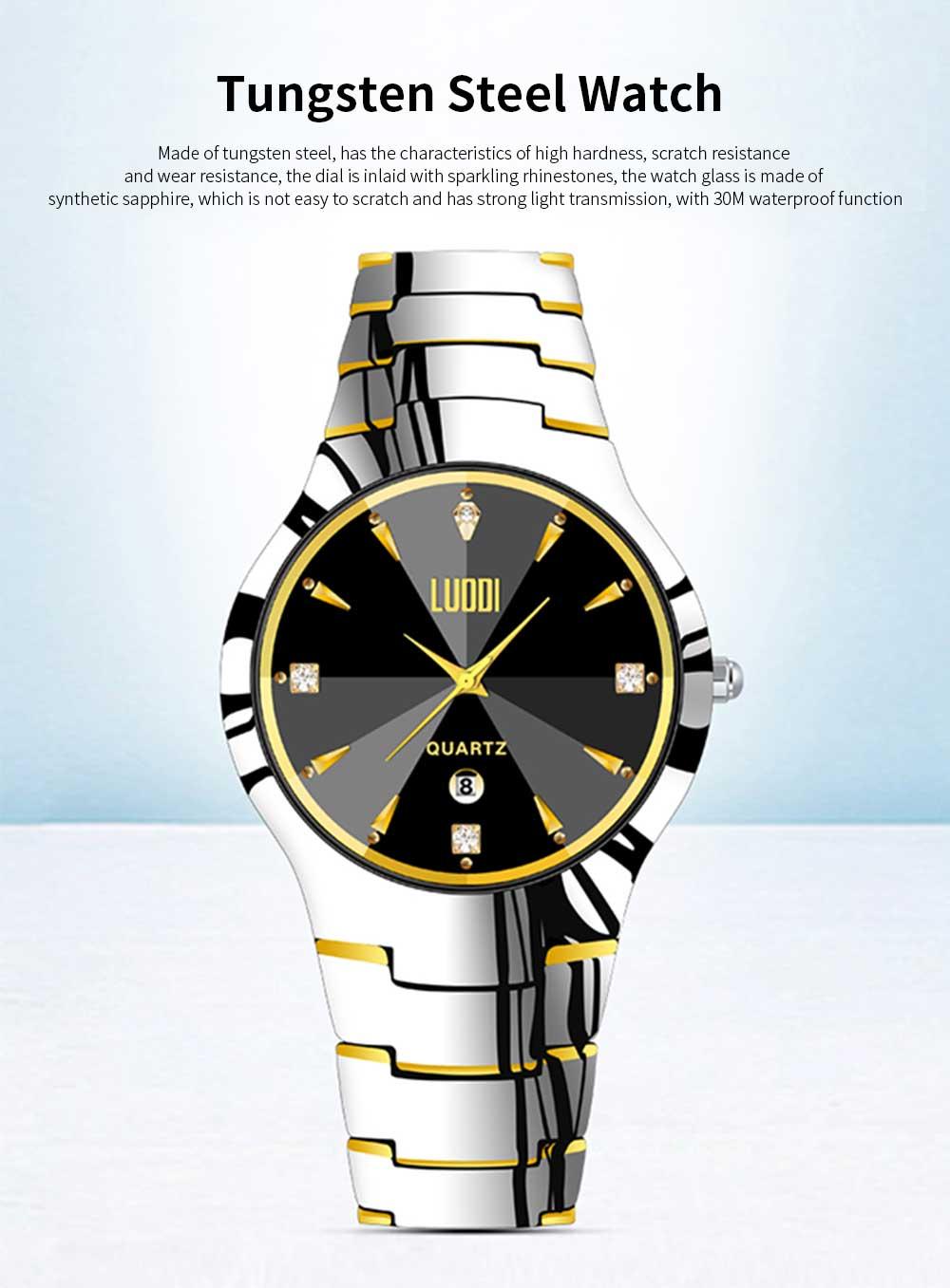 Tungsten Steel Watch for Men Fashion Cool Black Quartz Movement Waterproof 3D Watch Case WristWatch Stylish Couple Watches 0