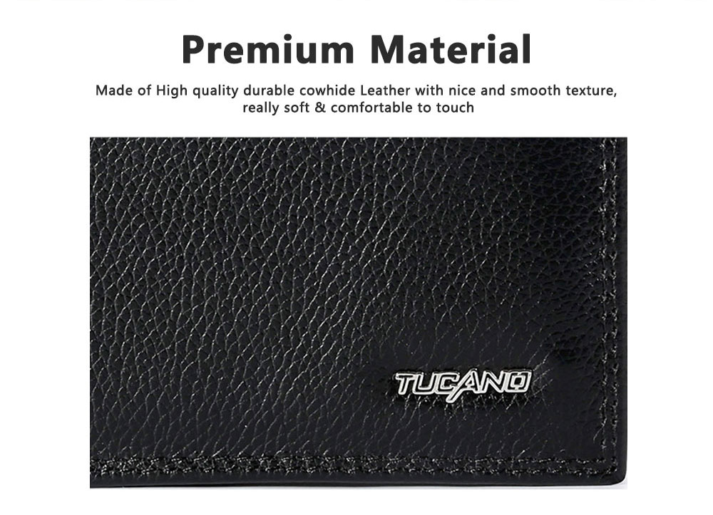 TUCANO Men Wallet Soft Business Genuine Leather Wallets Slim Bifold Top Flip Money Clip Gifts for Men 5