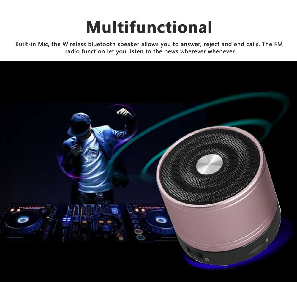 Portable Wireless Speakers Outdoor Rechargeable Bluetooth Speaker HD Sound &Bass Mini Stereo Speaker with Built-in Mic and SD/TF Card 2