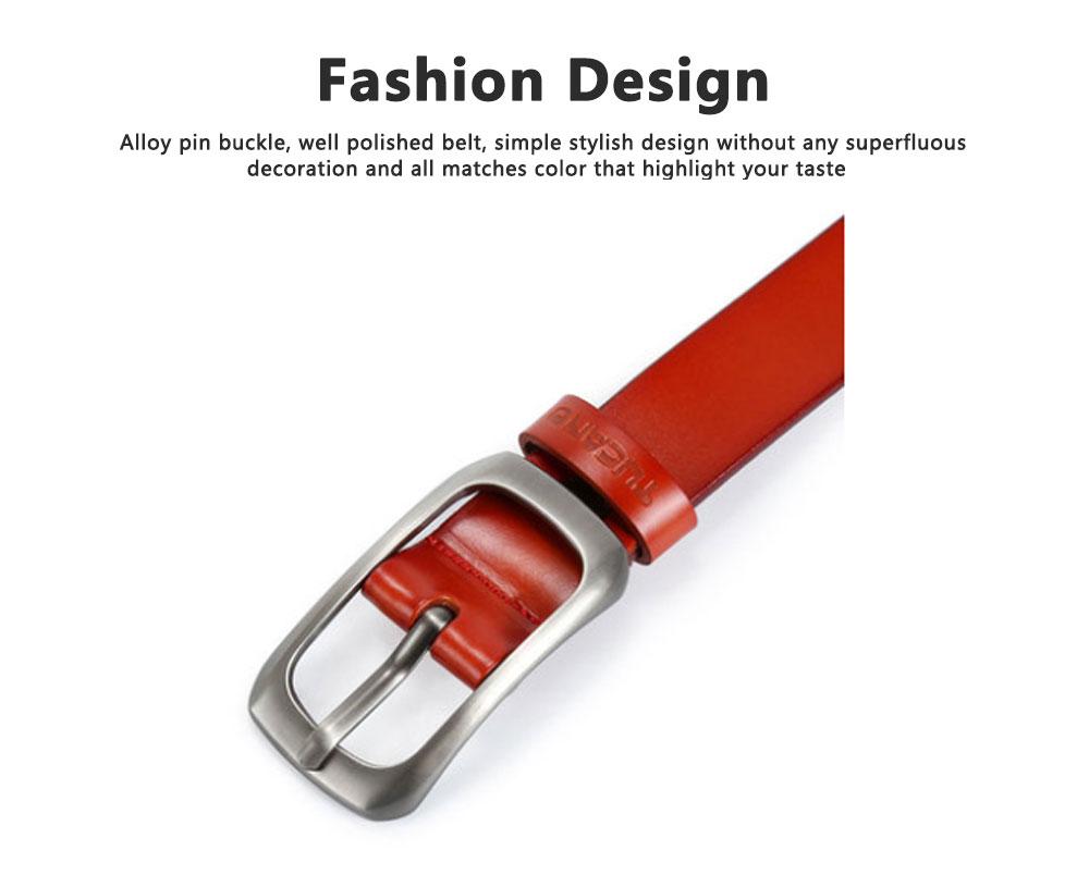 Women Genuine Cowhide Leather Belt Waist Skinny Dress Belts Solid Pin Buckle Belt For Jeans Pants 2