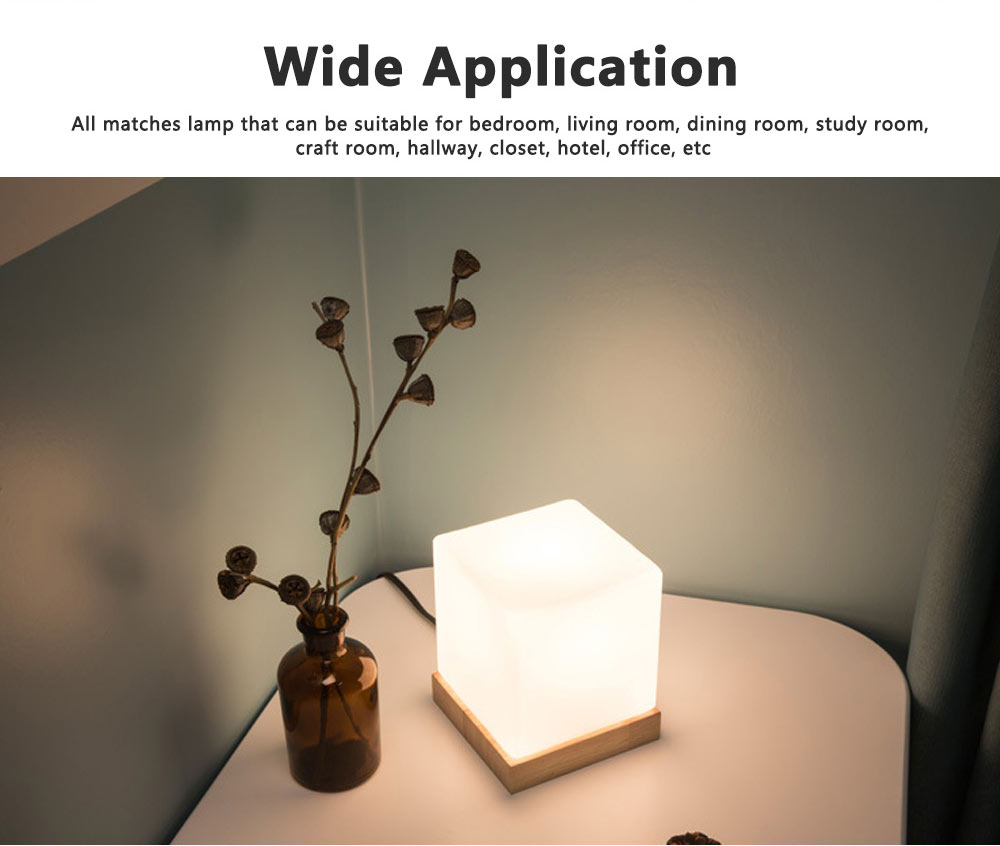 LED Table Light Fashion Glass Ice Cube Night Light Beside Lamp with 2 Colors for Home Decor 2