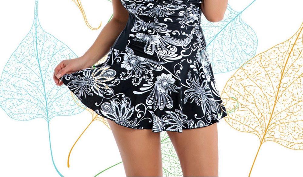 Women Plus Size V-Neck Backless One Piece Skirt Bikini Swimwear Bathing Suit Floral Print Safety Pants Swimsuit 1