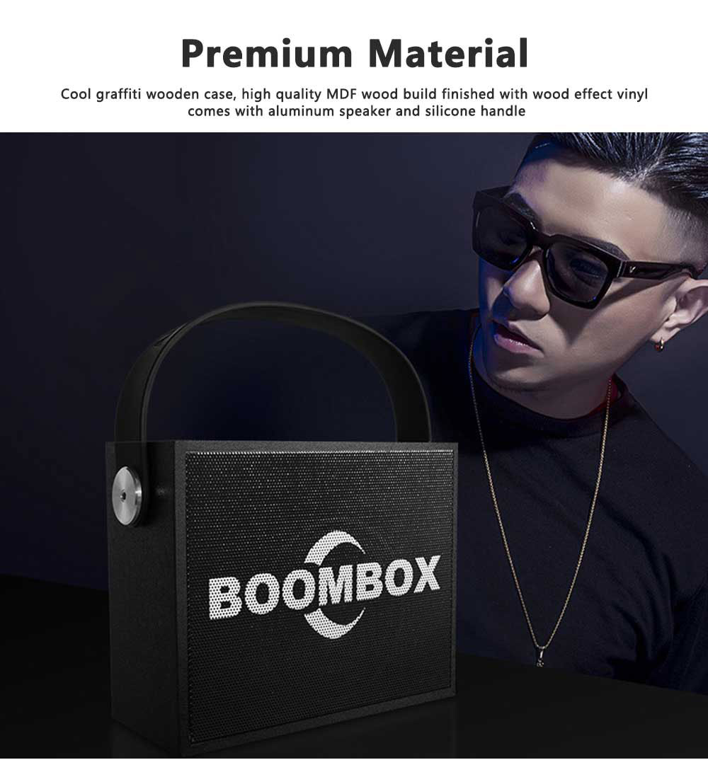 Portable Mini Wireless Speakers 10W Outdoor Rechargeable Bluetooth Speaker Wooden Graffiti Case with FM Radio 5