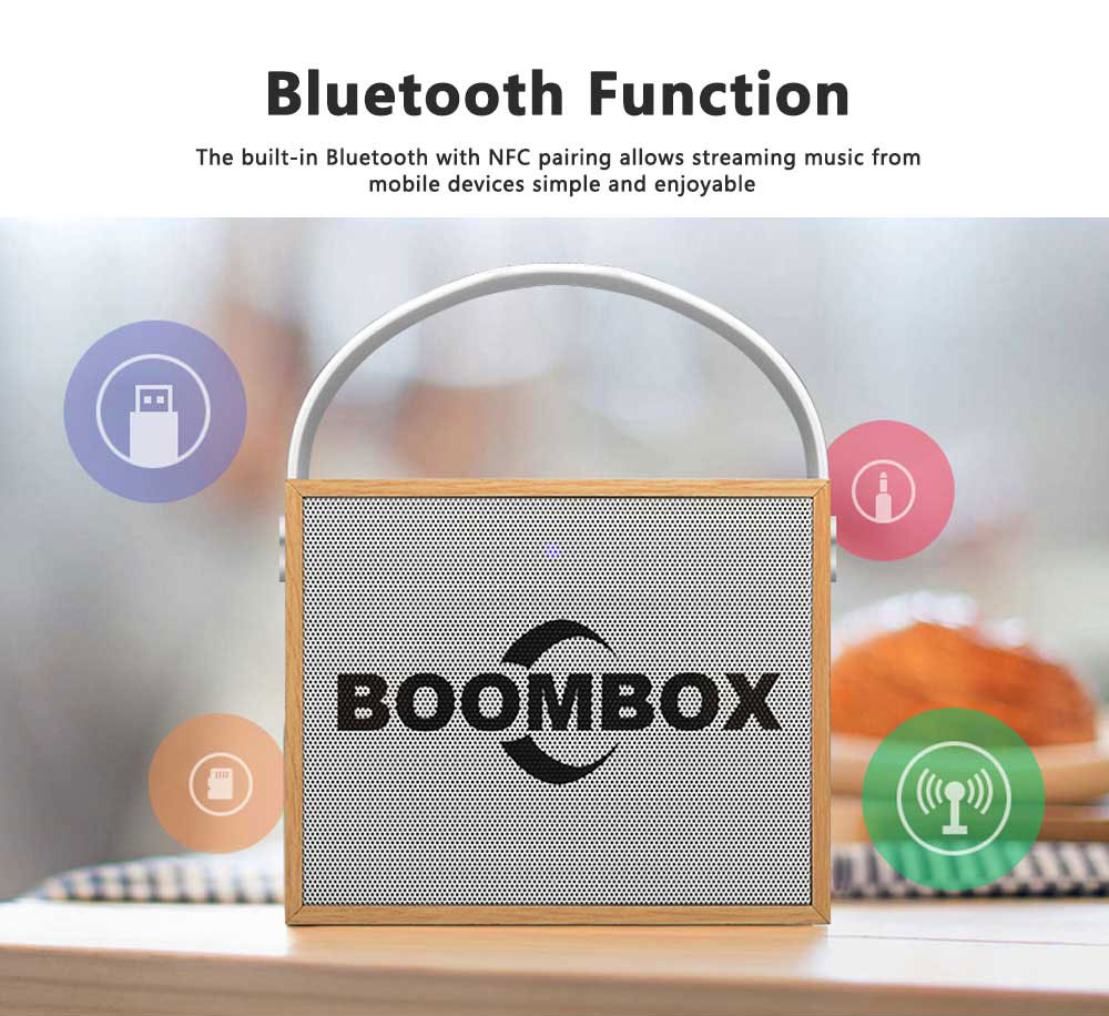 Portable Mini Wireless Speakers 10W Outdoor Rechargeable Bluetooth Speaker Wooden Graffiti Case with FM Radio 7