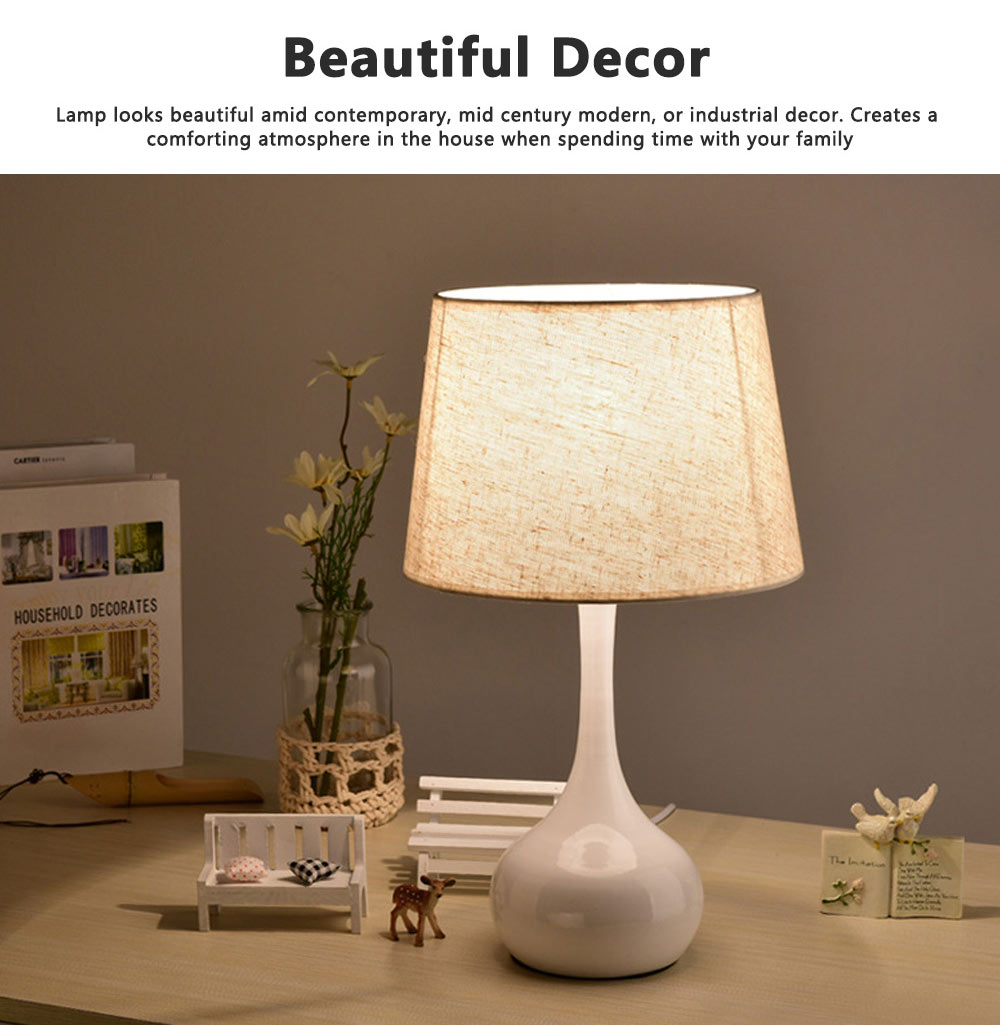 Night Lights LED Multifunctional Linen Lampshade Reading Lamp E27 Screw Touch Switch Table Lamp Bedside Lamp for Home Decor 7