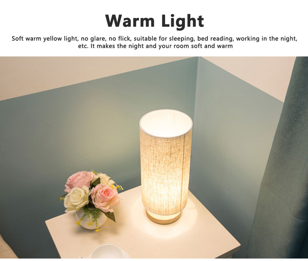 Bedside Table Lamp Modern Simple Design Desk Lamp with Cylinder Fabric Shade and Black Base for Home Decor 6