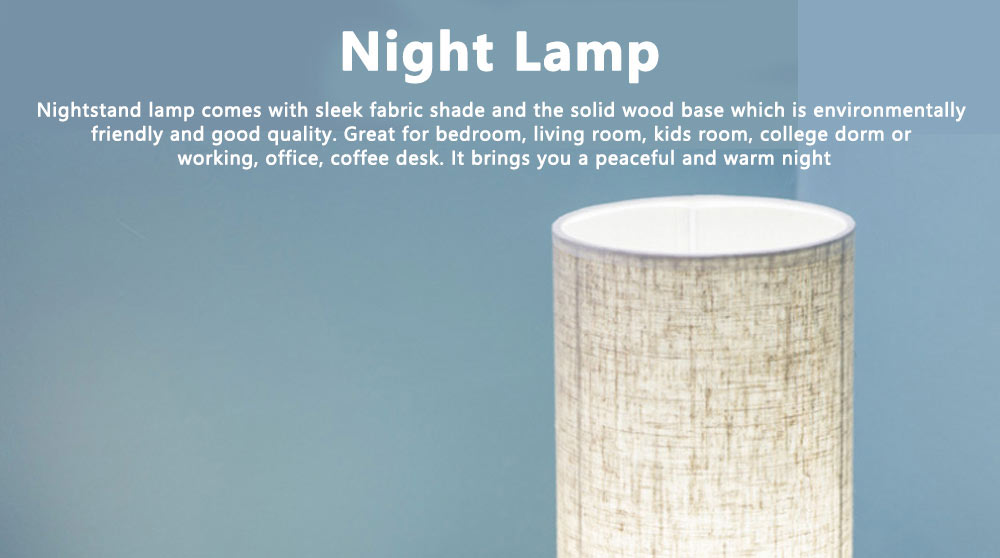 Bedside Table Lamp Modern Simple Design Desk Lamp with Cylinder Fabric Shade and Black Base for Home Decor 0