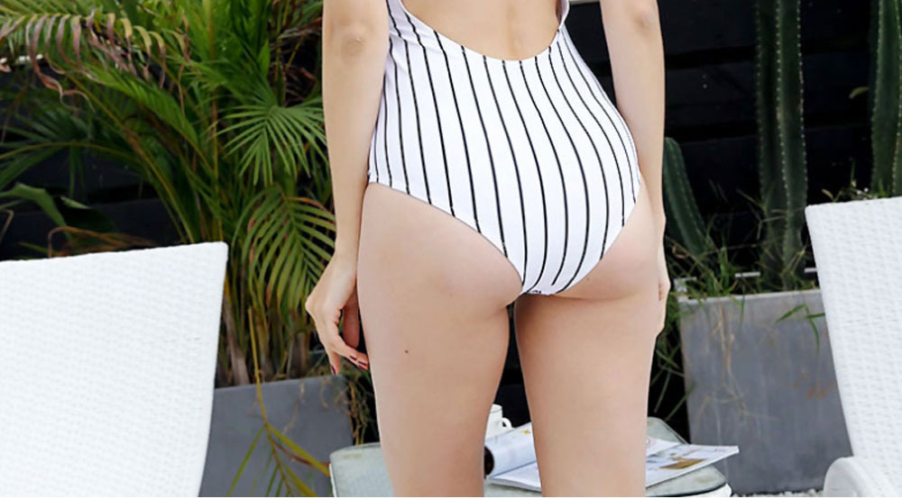 Women Sexy Swimwear High Waisted One Piece Striped Swimsuit Backless Front Bow Tie Bikini Bathing Suits 2019 New Hot 5