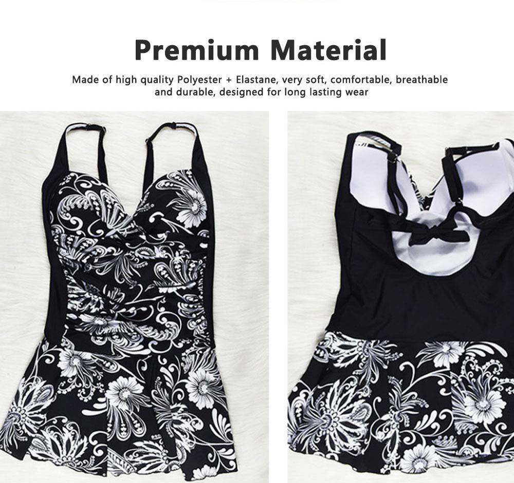 Women Plus Size V-Neck Backless One Piece Skirt Bikini Swimwear Bathing Suit Floral Print Safety Pants Swimsuit 6