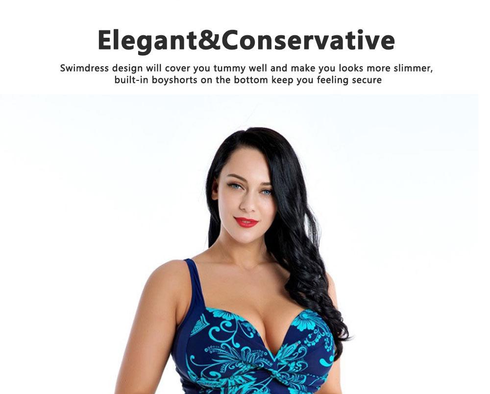 Women Plus Size V-Neck Backless One Piece Skirt Bikini Swimwear Bathing Suit Floral Print Safety Pants Swimsuit 7