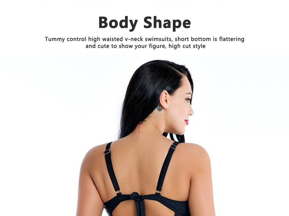 Women Plus Size V-Neck Backless One Piece Skirt Bikini Swimwear Bathing Suit Floral Print Safety Pants Swimsuit 4