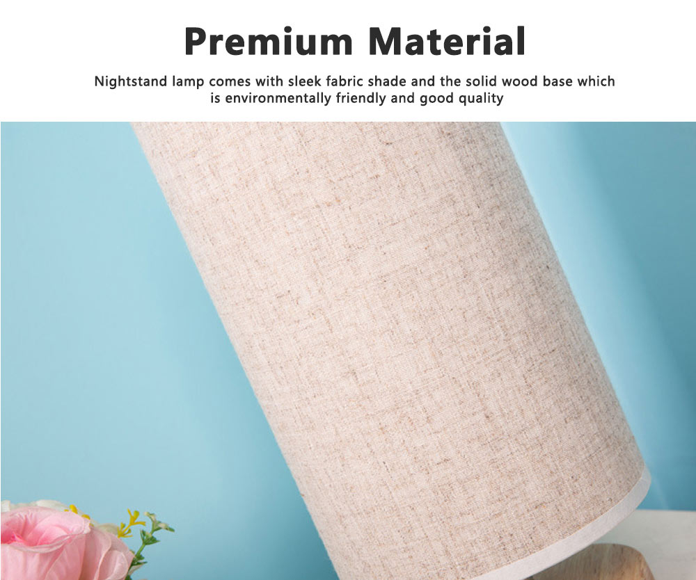 Bedside Table Lamp Modern Simple Design Desk Lamp with Cylinder Fabric Shade and Black Base for Home Decor 4
