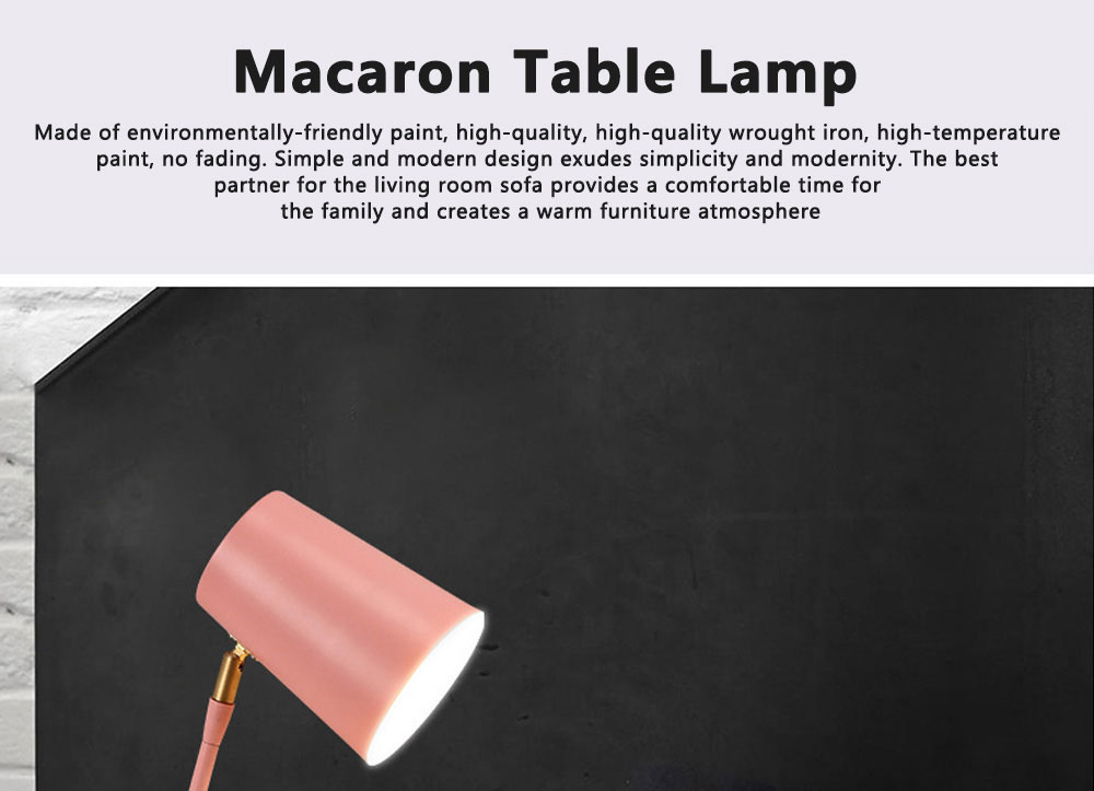 Macaron Table Lamp Durable Creative Rotated Metal LED Desk Light Simple Slim Reading Lights for Home Bedroom School Dormitory Decoration 0