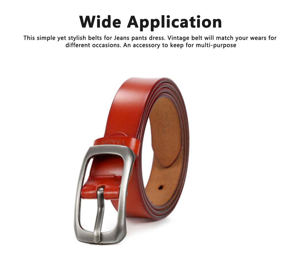 Women Genuine Cowhide Leather Belt Waist Skinny Dress Belts Solid Pin Buckle Belt For Jeans Pants 1