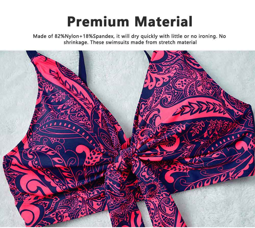 Women's Sexy Padded Push Up Bikini Set Halter Bathing Suits Two Pieces Swimsuit Floral Print Swimwear 6