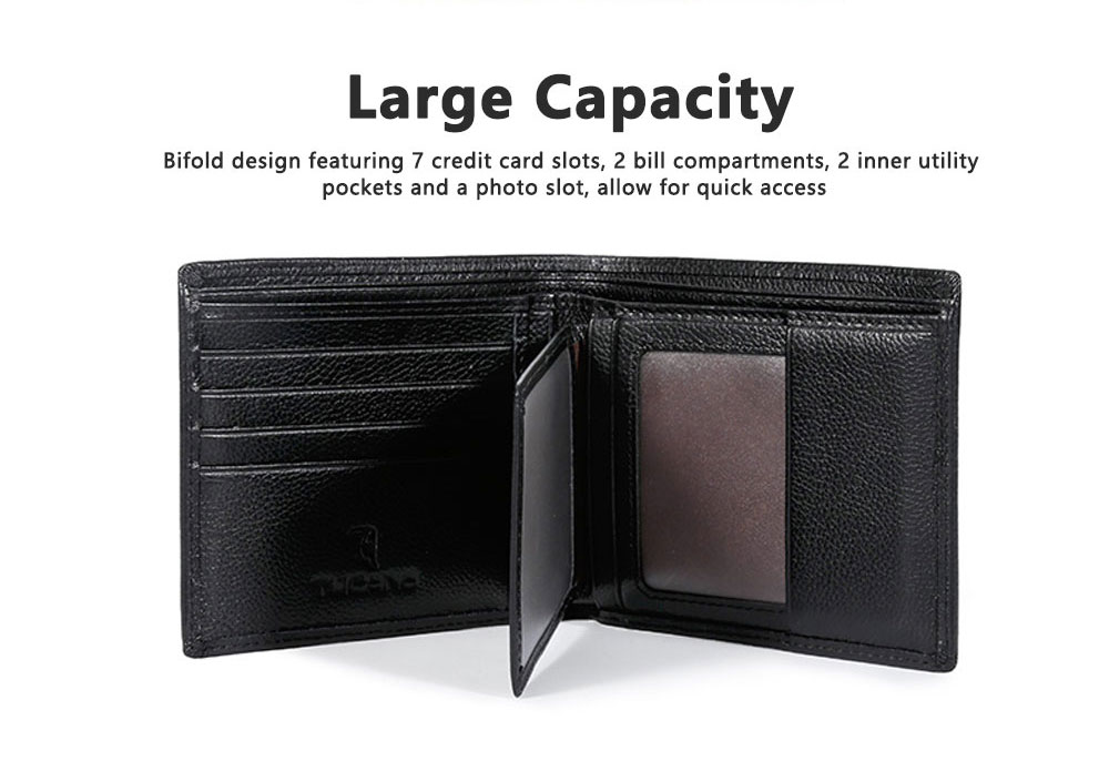 TUCANO Men Wallet Soft Business Genuine Leather Wallets Slim Bifold Top Flip Money Clip Gifts for Men 7