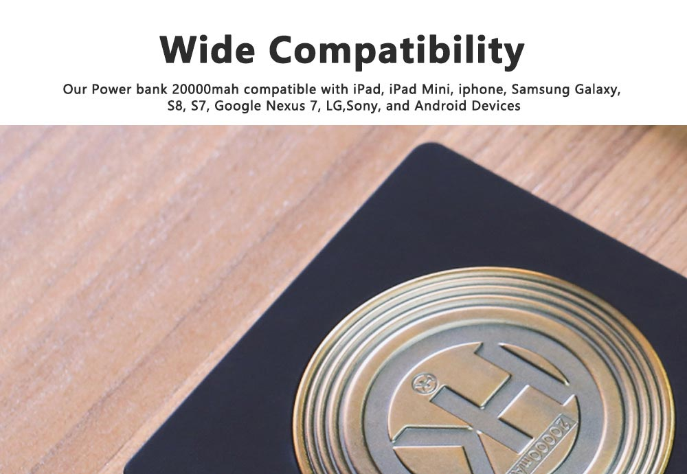 Portable Power Bank Ultra-thin Polymer 20000mah Fast Mobile Charger Cell Phone Battery for iPhone, iPad Samsung Galaxy Huawei LG Xiaomi 4