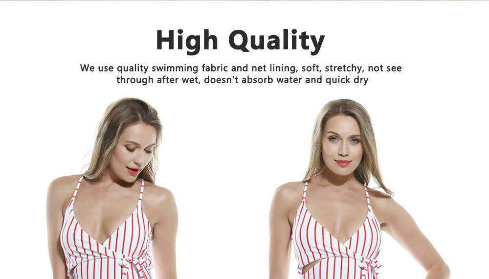 Women Sexy Swimwear High Waisted One Piece Striped Swimsuit Backless Front Bow Tie Bikini Bathing Suits 2019 New Hot 9
