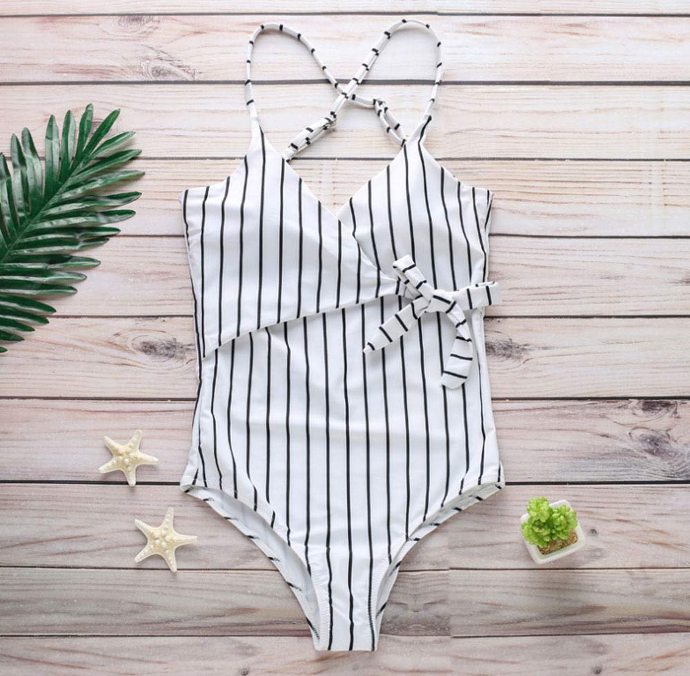 Women Sexy Swimwear High Waisted One Piece Striped Swimsuit Backless Front Bow Tie Bikini Bathing Suits 2019 New Hot 8