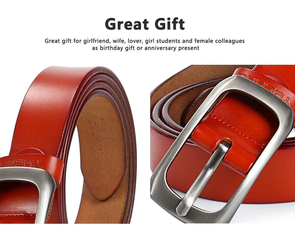 Women Genuine Cowhide Leather Belt Waist Skinny Dress Belts Solid Pin Buckle Belt For Jeans Pants 5