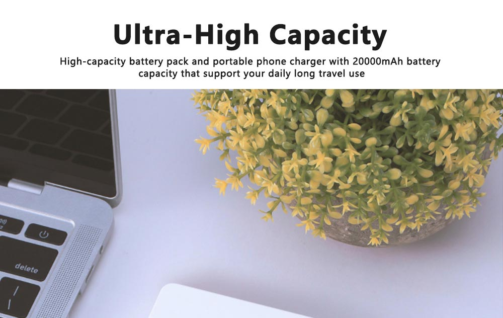 Portable Power Bank Ultra-thin Polymer 20000mah Fast Mobile Charger Cell Phone Battery for iPhone, iPad Samsung Galaxy Huawei LG Xiaomi 2