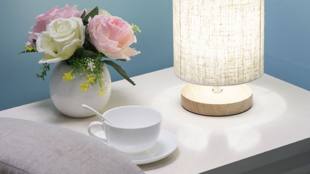 Bedside Table Lamp Modern Simple Design Desk Lamp with Cylinder Fabric Shade and Black Base for Home Decor 1