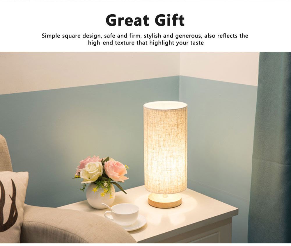 Bedside Table Lamp Modern Simple Design Desk Lamp with Cylinder Fabric Shade and Black Base for Home Decor 2
