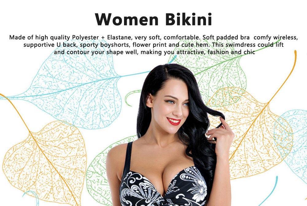 Women Plus Size V-Neck Backless One Piece Skirt Bikini Swimwear Bathing Suit Floral Print Safety Pants Swimsuit 0