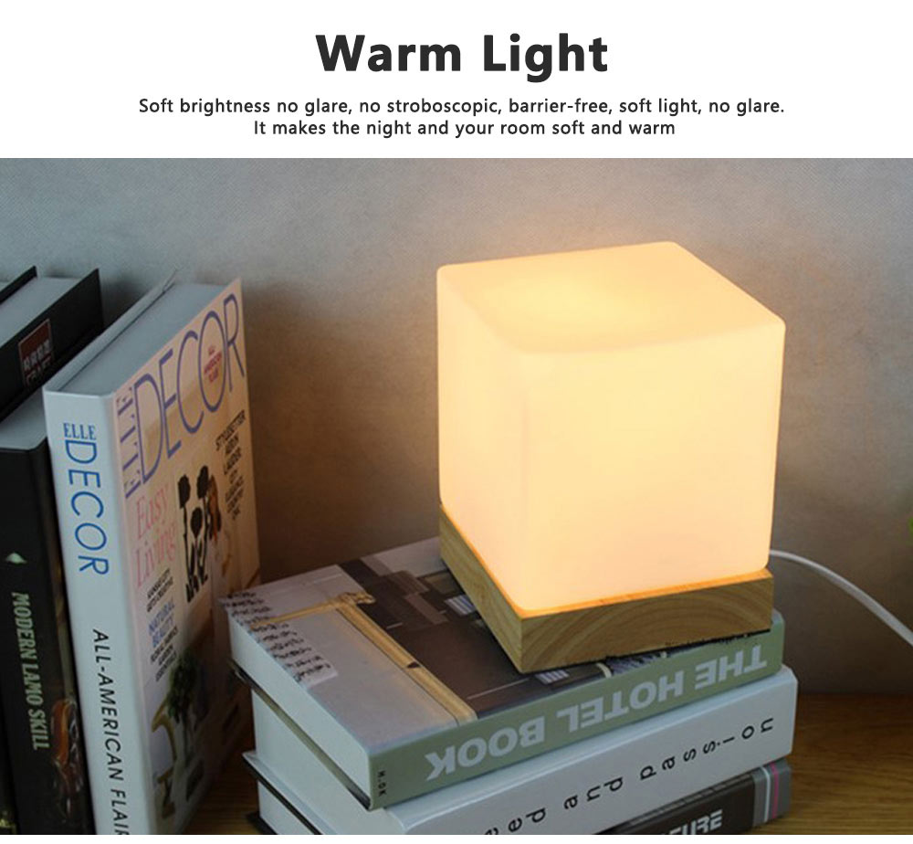 LED Table Light Fashion Glass Ice Cube Night Light Beside Lamp with 2 Colors for Home Decor 5