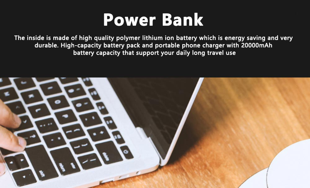 Portable Power Bank Ultra-thin Polymer 20000mah Fast Mobile Charger Cell Phone Battery for iPhone, iPad Samsung Galaxy Huawei LG Xiaomi 0