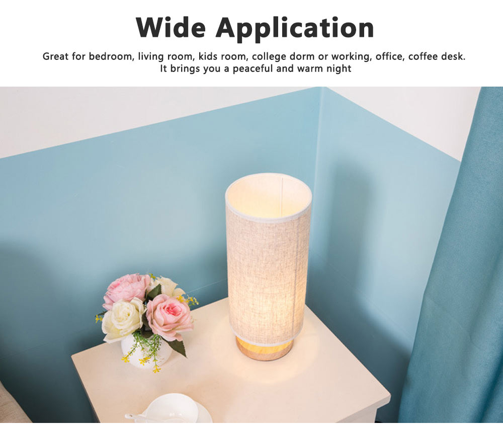Bedside Table Lamp Modern Simple Design Desk Lamp with Cylinder Fabric Shade and Black Base for Home Decor 3